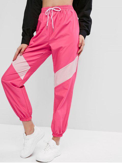 Neón lazo de dos tonos rompevientos basculador Pantalones - Rosa Roja M Mobile