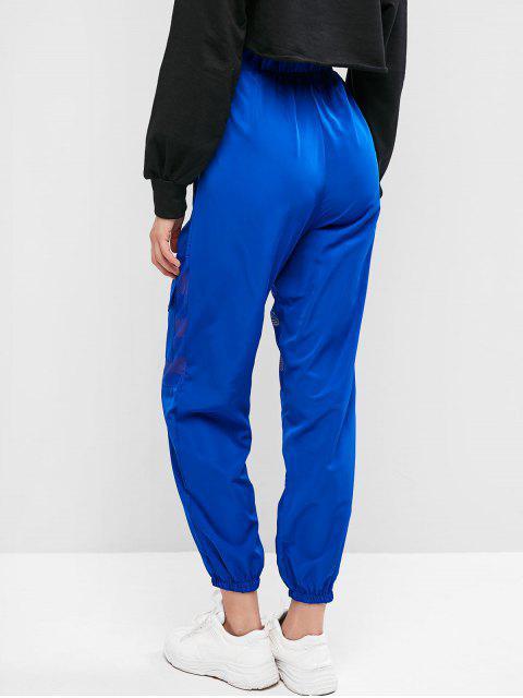Pantalones Mallas de bolsillo del panel de talle alto del basculador - Azul L Mobile