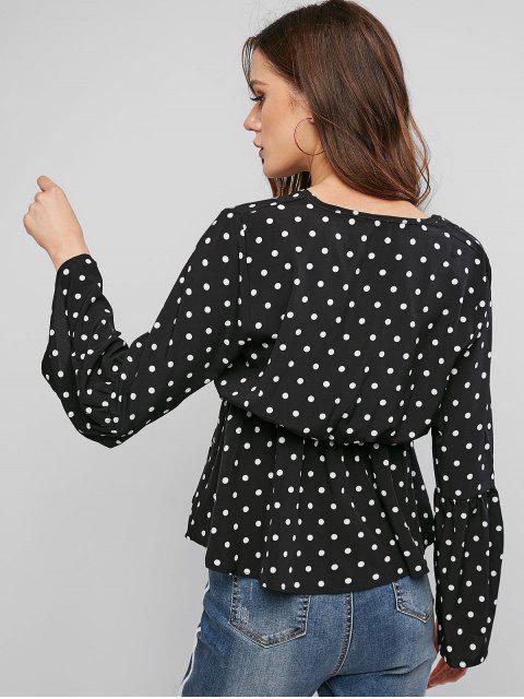 shop Polka Dot Flare Sleeve V Neck Blouse - BLACK L Mobile
