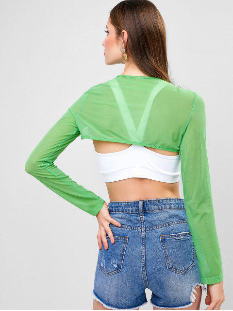 shop Cut Out Front Buckled Mesh Crop Tee - GREEN APPLE S Mobile