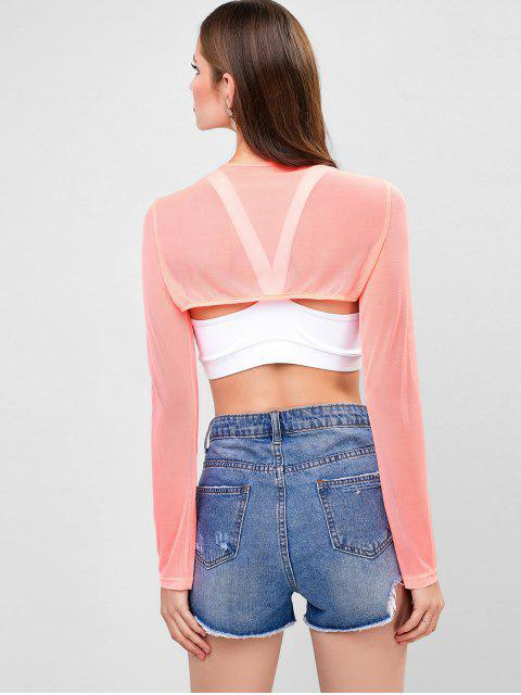 sale Cut Out Front Buckled Mesh Crop Tee - PINK L Mobile