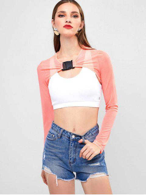 best Cut Out Front Buckled Mesh Crop Tee - PINK S Mobile