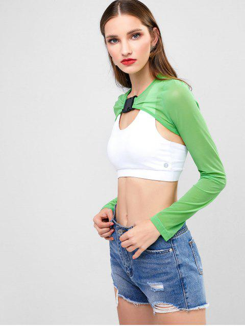 outfit Cut Out Front Buckled Mesh Crop Tee - GREEN APPLE M Mobile
