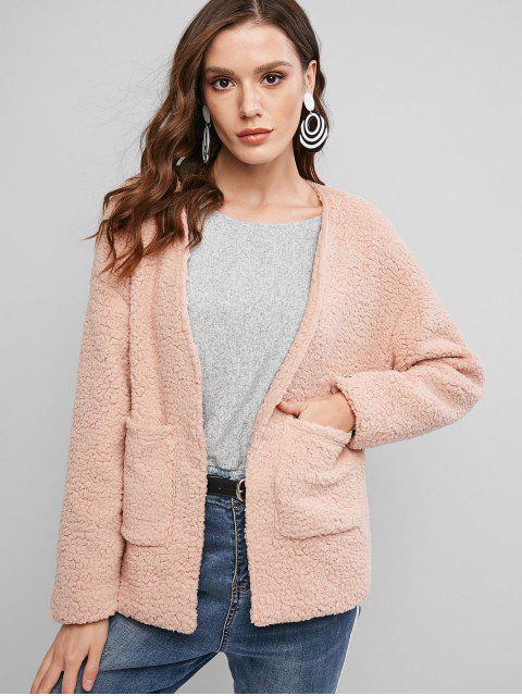 ZAFUL Abrigo de Hombro Caído con Bolsillo y Imitación - Rosa Sakura  XL Mobile