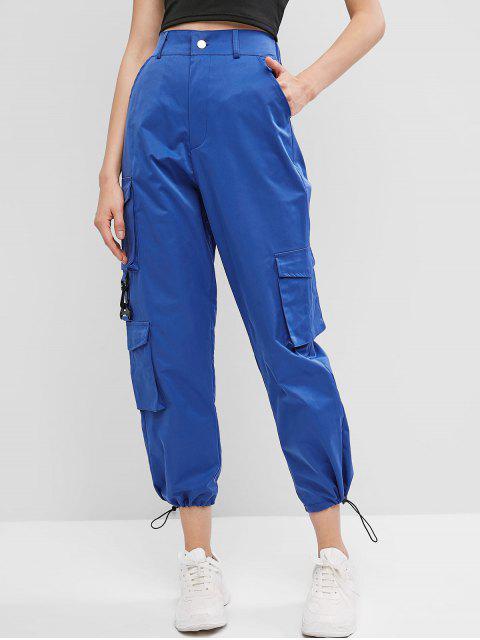 Pantalones Cordón Cremallera Bolsillos - Azul M Mobile