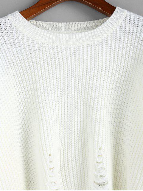 trendy ZAFUL Distressed Drop Shoulder Jumper Sweater - WHITE L Mobile