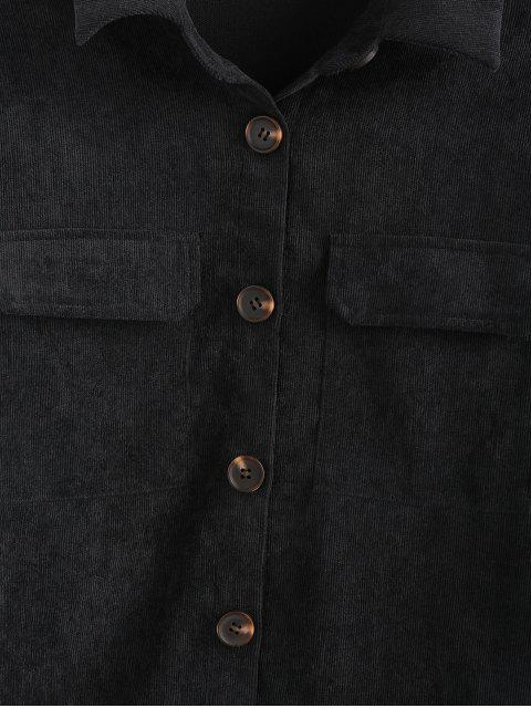 buy ZAFUL Solid Flap Pocket Button Up Cord Shirt - BLACK M Mobile