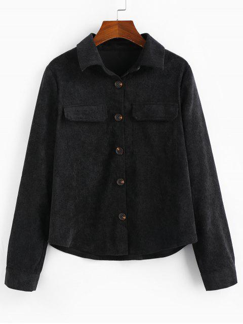 womens ZAFUL Solid Flap Pocket Button Up Cord Shirt - BLACK L Mobile