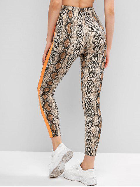 ZAFUL Leggings Delgados con Estampado de Piel de Serpiente - Multicolor M Mobile
