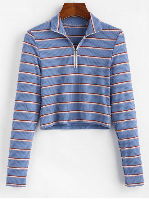 outfit ZAFUL Half-zip Striped Crop Top - MULTI S Mobile