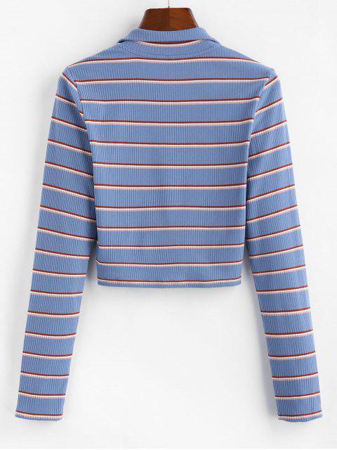 shop ZAFUL Half-zip Striped Crop Top - MULTI M Mobile