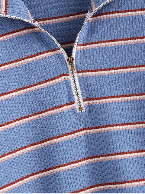 ladies ZAFUL Half-zip Striped Crop Top - MULTI L Mobile