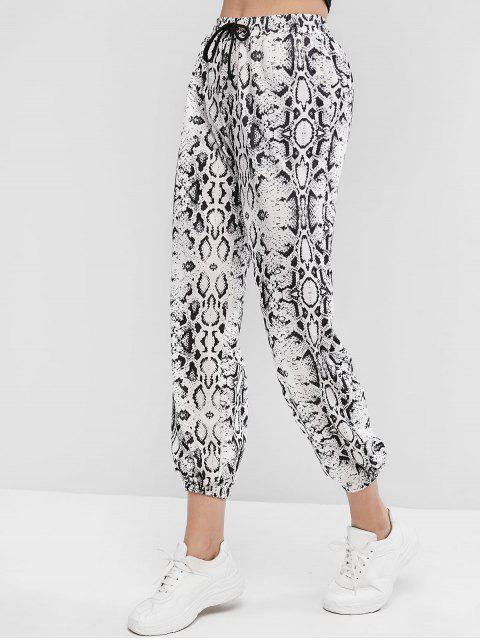 Pantalones Jogger con Estampado de Piel de Serpiente y Bolsillos - Multicolor-A L Mobile