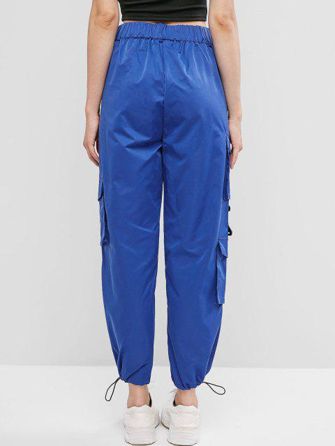 shop Pockets Zipper Fly Drawstring Pants - BLUE L Mobile