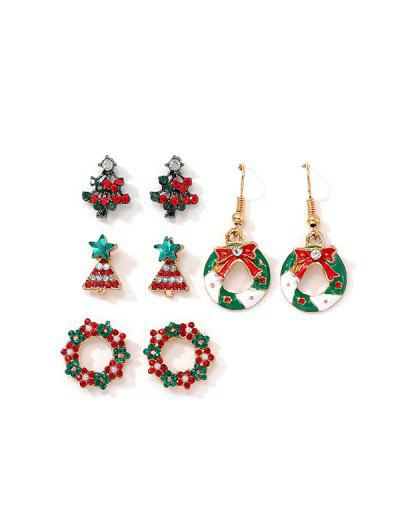 4 Pairs Christmas Tree Garland Earrings Set