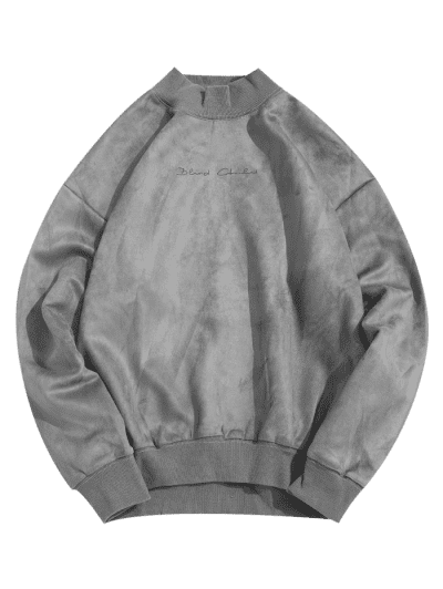 Solid Letter Print Rib-knit Trim Casual Sweatshirt, Blue gray