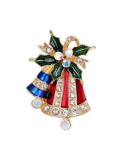 Broche De Campana De Navidad Brillante - Oro