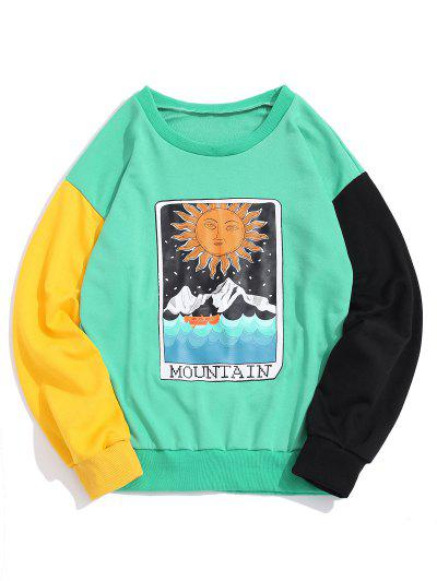 ZAFUL Cartoon Sun Mountain Graphic Color Block Splicing Sweatshirt - Green Apple L