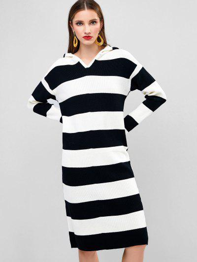 Hooded Long Sleeve Colorblock Stripes Sweater Dress - Multi-a