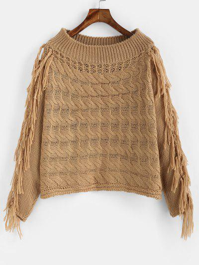 ZAFUL Tassel Cable Knit Openwork Sweater - Camel Brown M