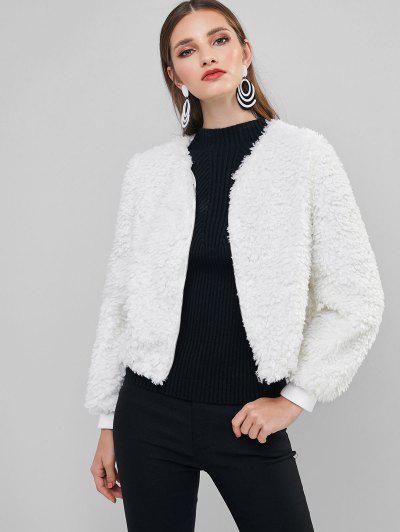 ZAFUL Fluffy Teddy Coat - White S