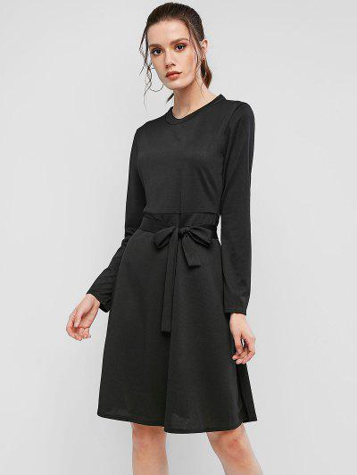 Ribbed Long Sleeve Belted A Line Dress - Black Xl