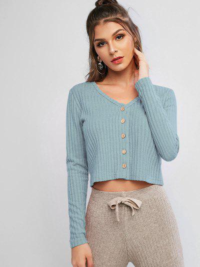 Solid Ribbed Button Up Cardigan - Blue Gray S