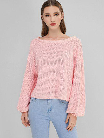 ZAFUL Lantern Sleeve Boat Neck Sweater - Rose S