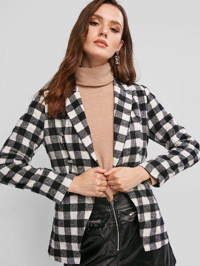 ZAFUL Plaid Wool Blend Pocket Blazer - Multi-a L