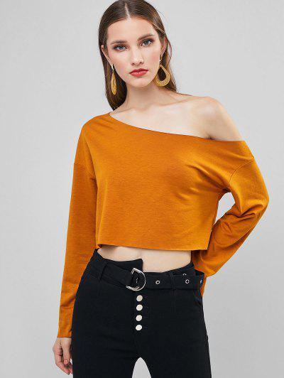 ZAFUL Skew Neck Drop Shoulder Crop Sweatshirt - Light Brown M