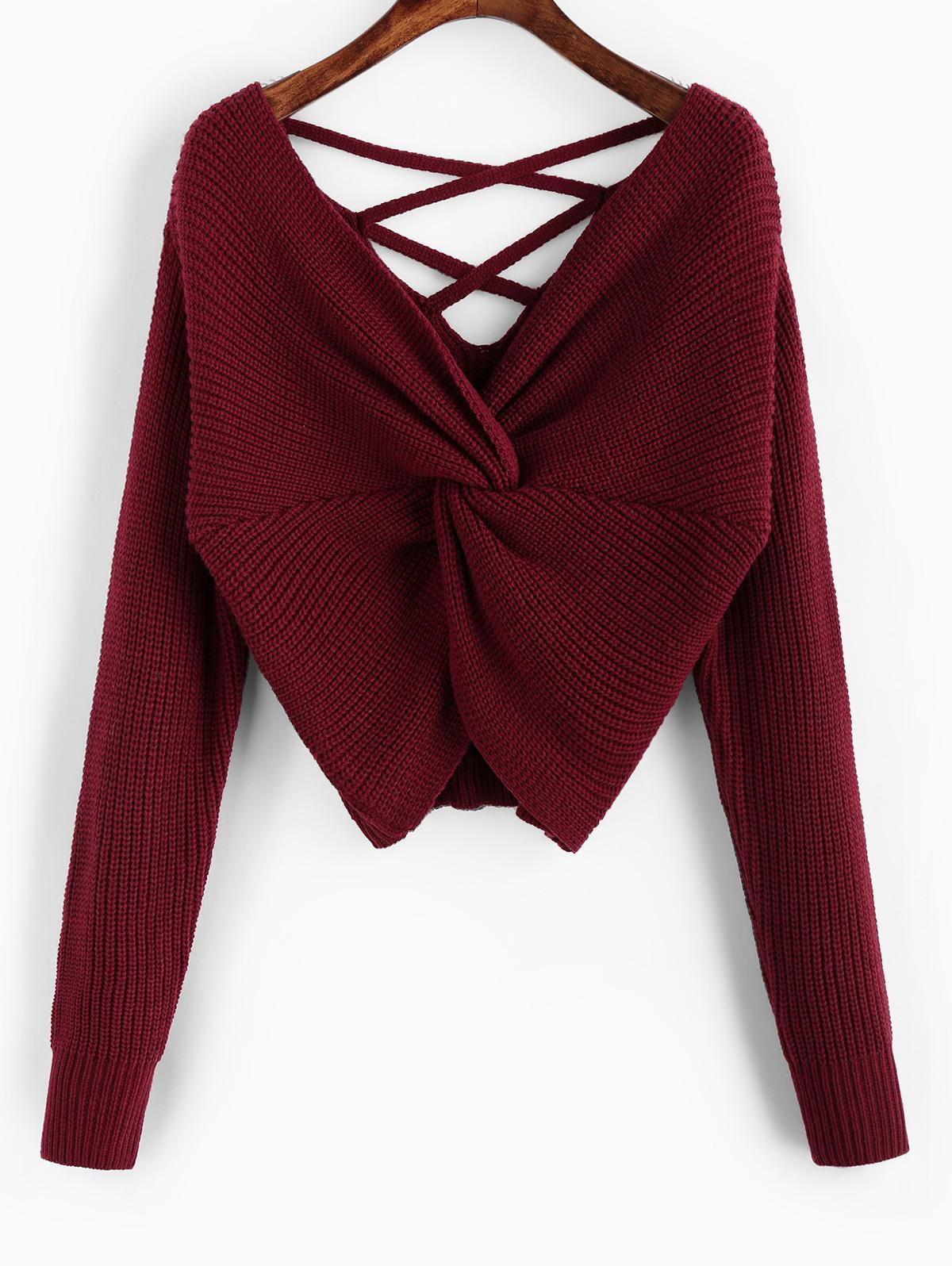 ZAFUL Twisted Criss Cross Drop Shoulder Sweater