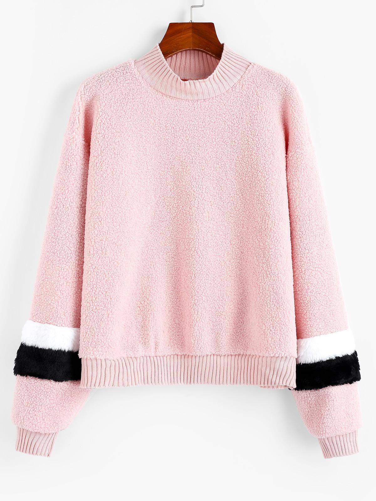 Splicing Knitted Teddy Sweatshirt