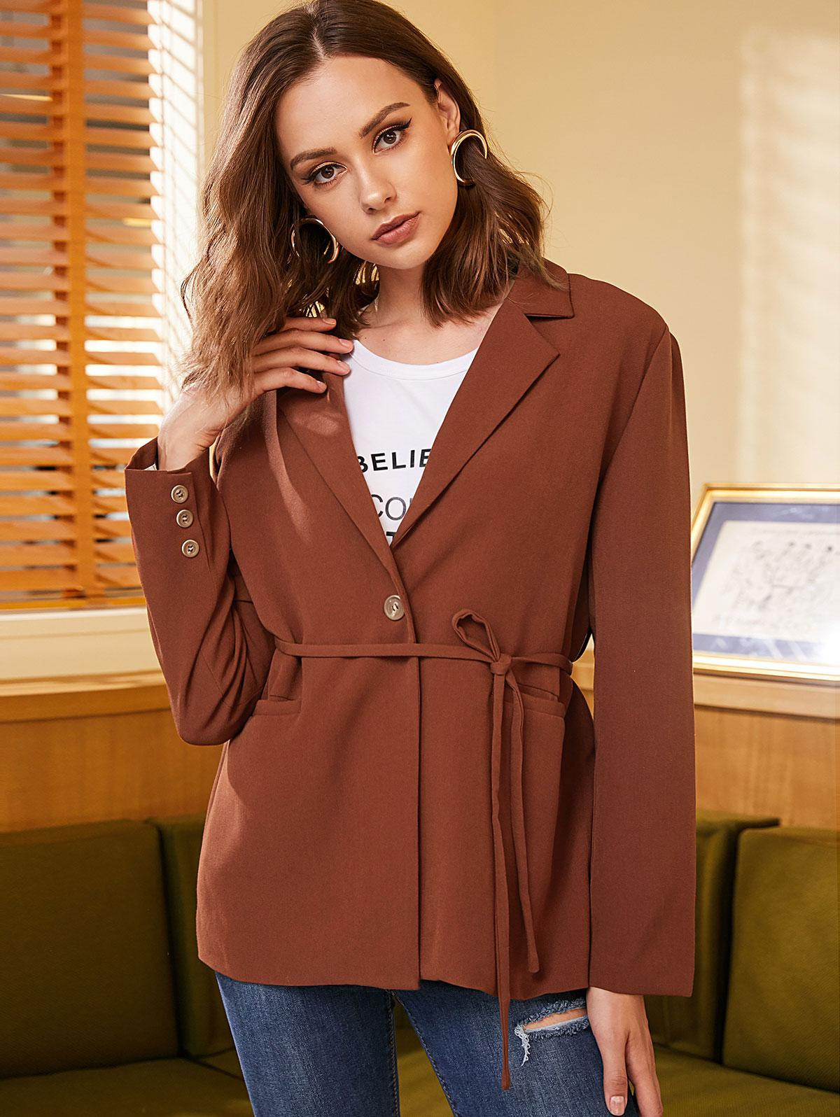 ZAFUL One Button Belted Solid Blazer