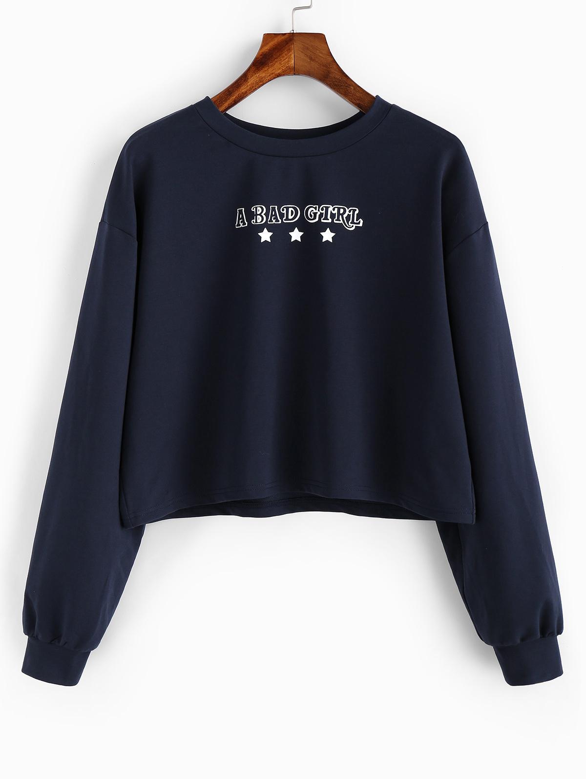 ZAFUL Letter Star Drop Shoulder Crop Sweatshirt