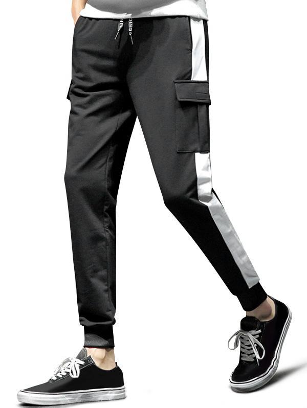 Colorblock Spliced Flap Pocket Sport Jogger Pants фото