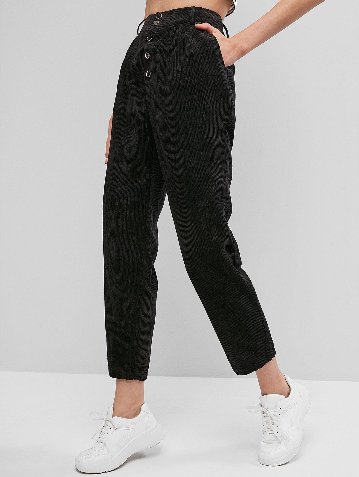 ZAFUL Snap Button Solid Corduroy Pants