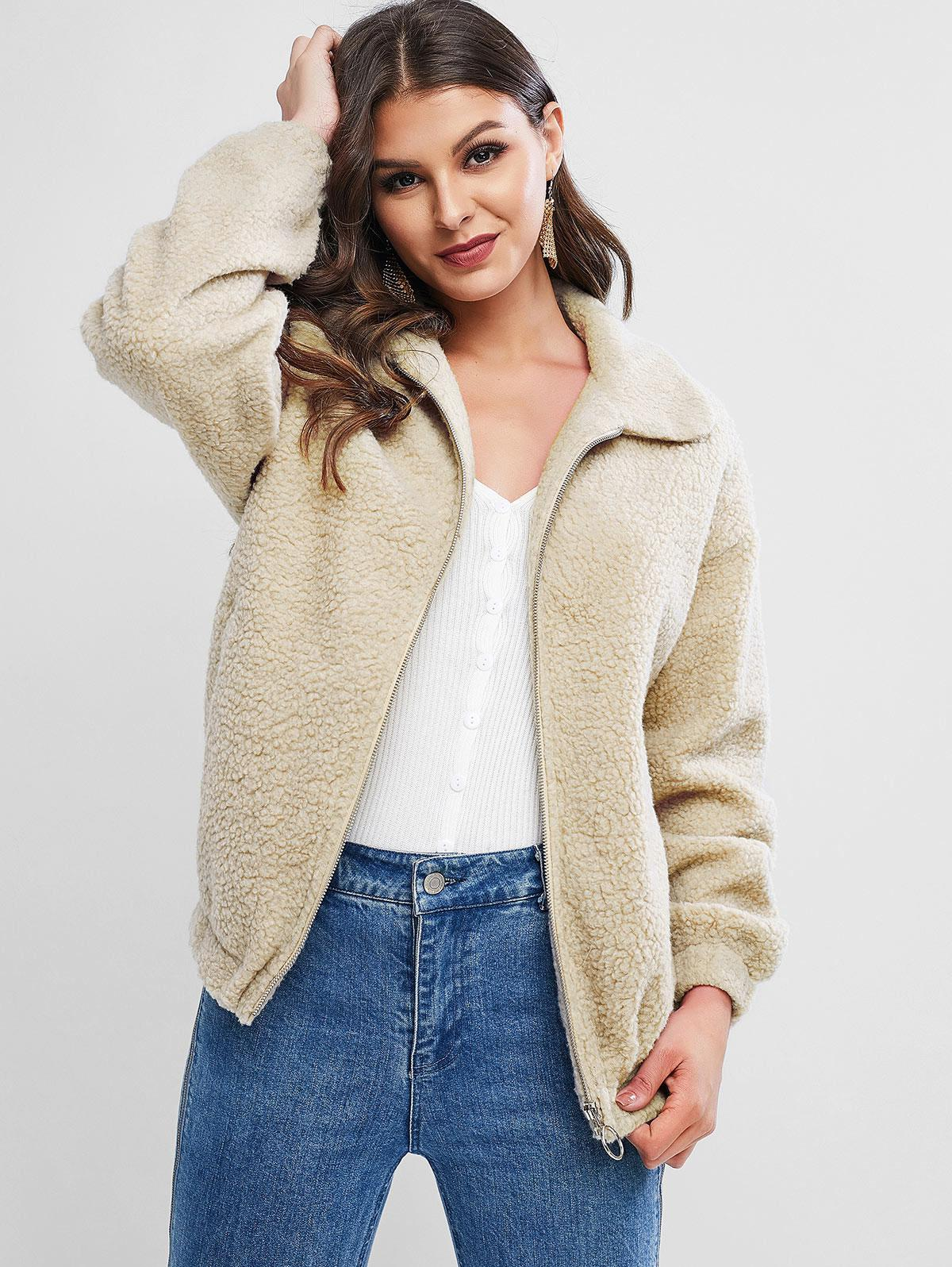 ZAFUL Zipper Drop Shoulder Teddy Coat