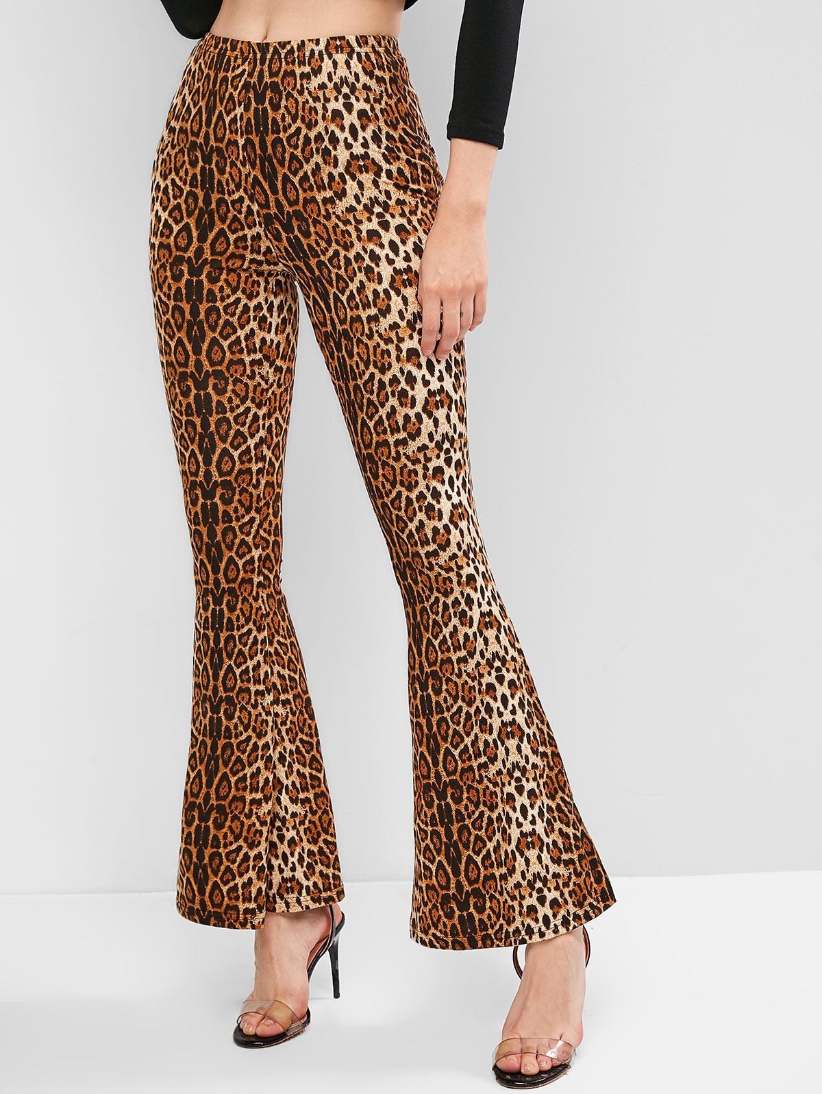 Mid Rise Tiger Leopard Flare Pants