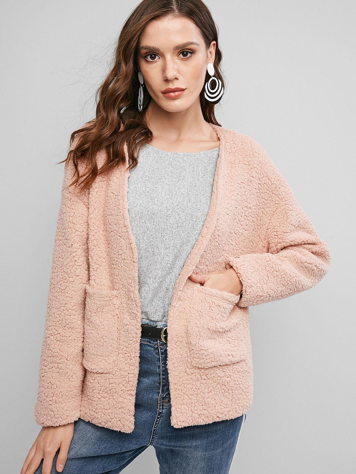 ZAFUL Faux Shearling Teddy Pocket Drop Shoulder Coat