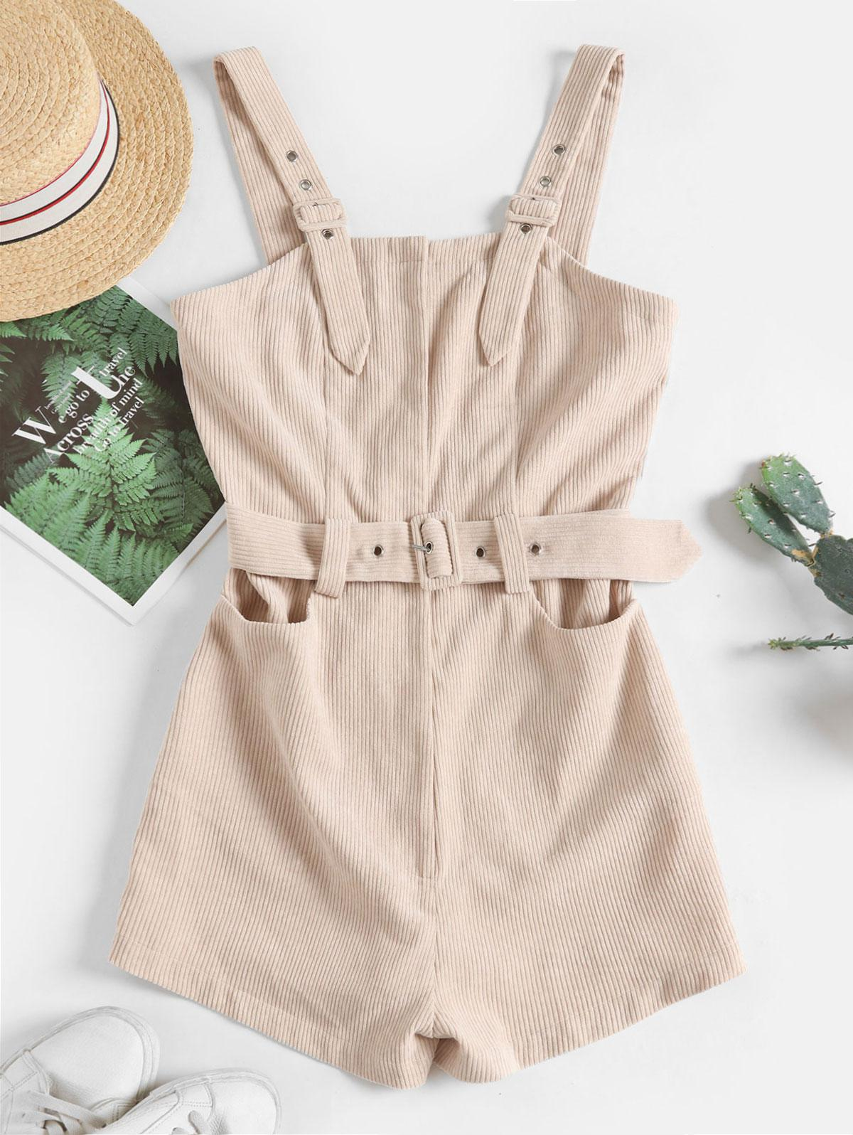 ZAFUL Solid Color Belted Corduroy Pinafore Romper фото