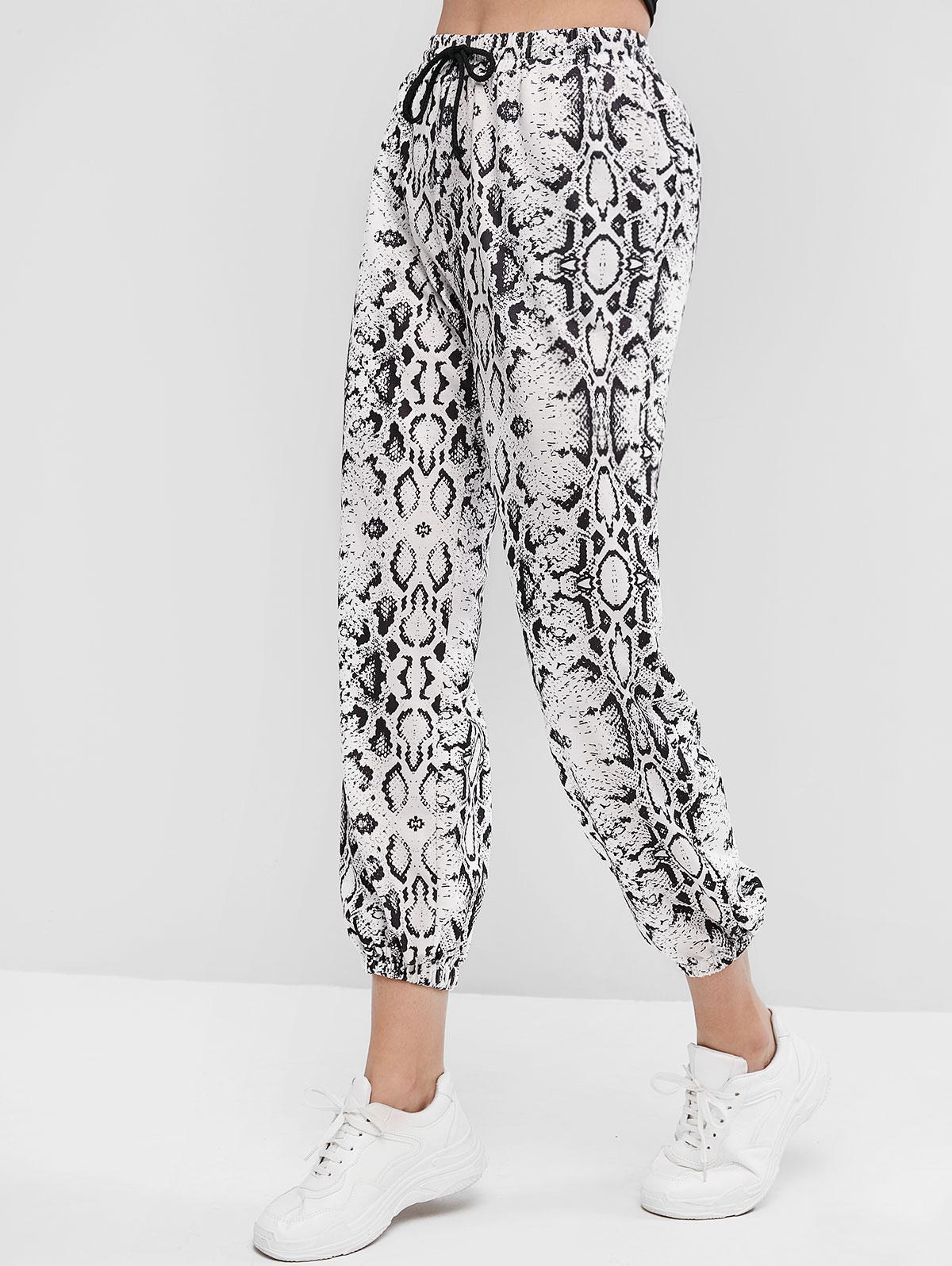 Drawstring Pockets Snakeskin Print Jogger Pants фото