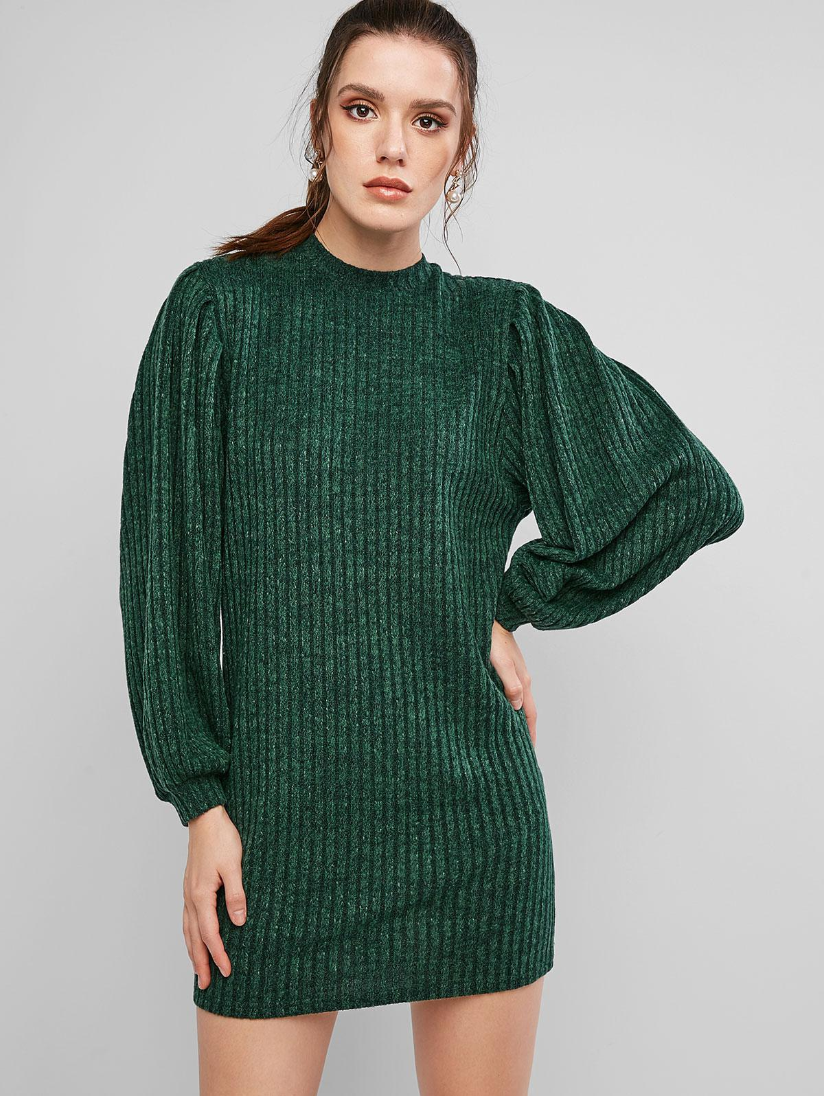 ZAFUL Lantern Sleeve Ribbed Mini Sweater Dress