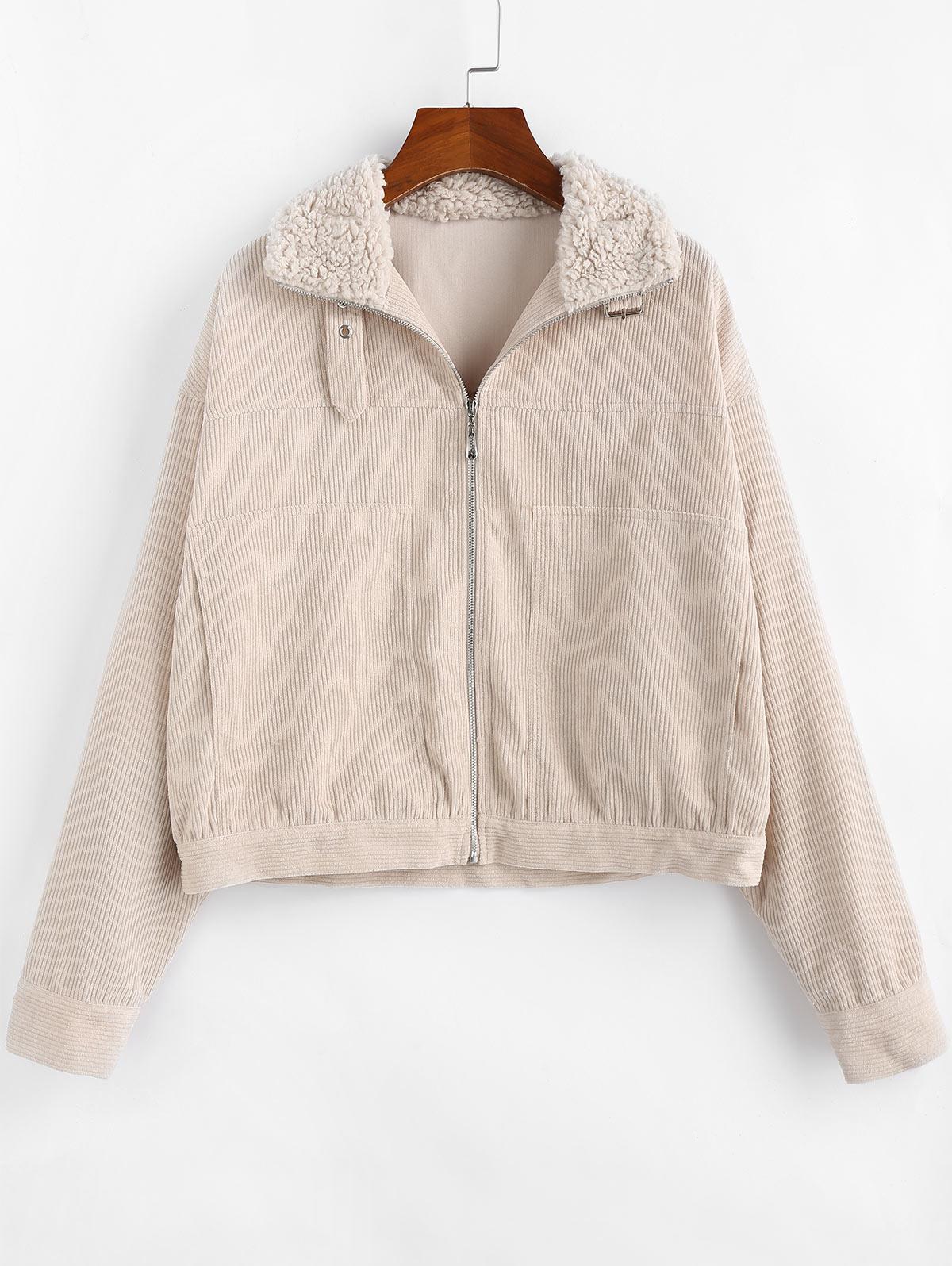 ZAFUL Corduroy Zip Fluffy Collar Pocket Jacket