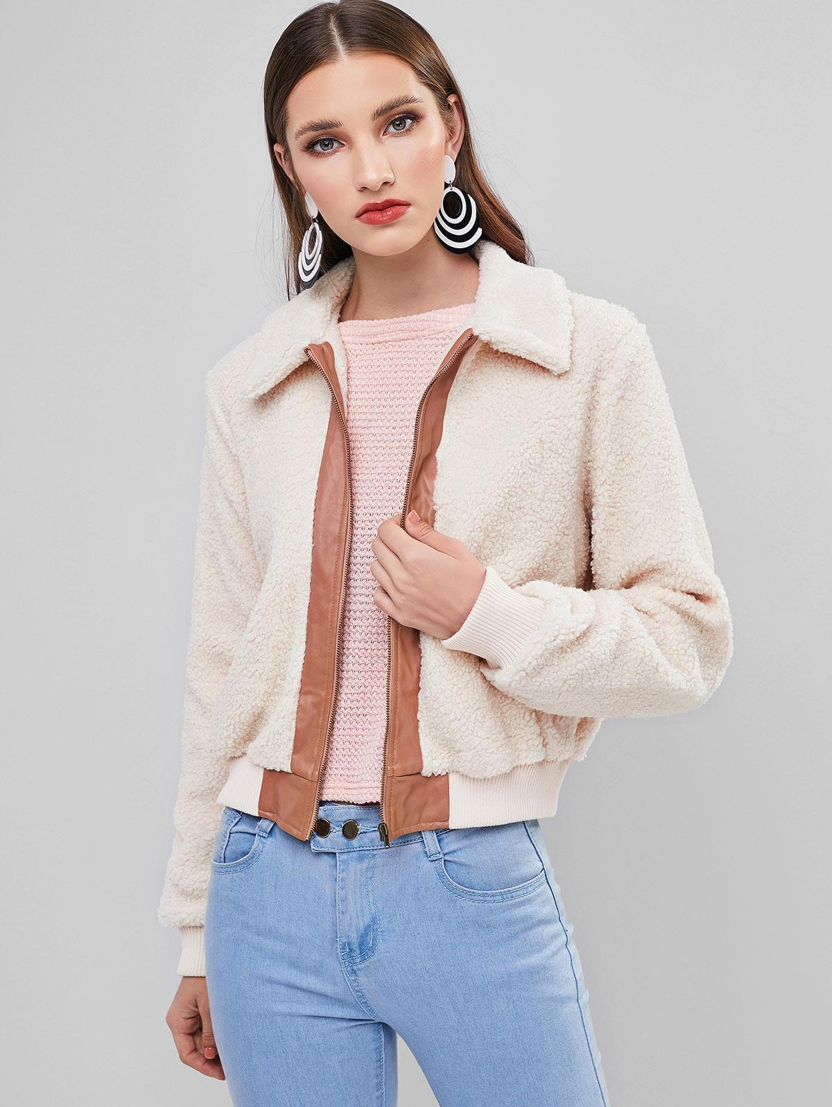 ZAFUL Colorblock Zip Up Pocket Teddy Coat