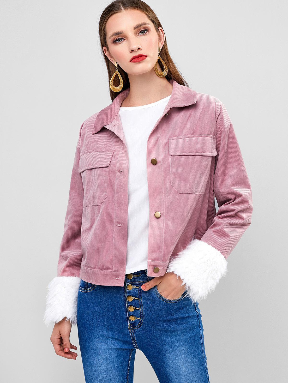 ZAFUL Corduroy Faux Fur Cuffs Pocket Jacket