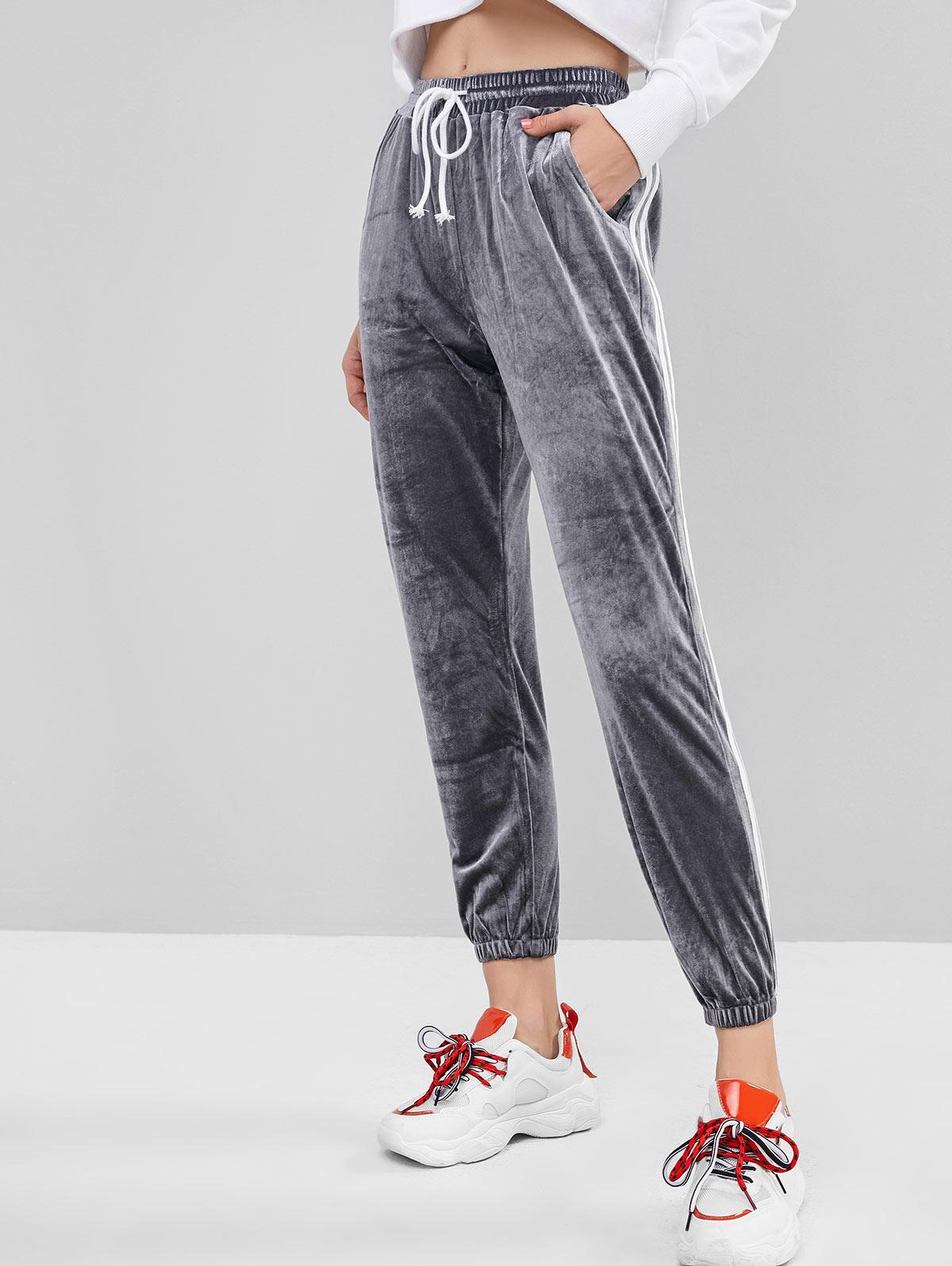Side Striped Velvet Drawstring Jogger Pants