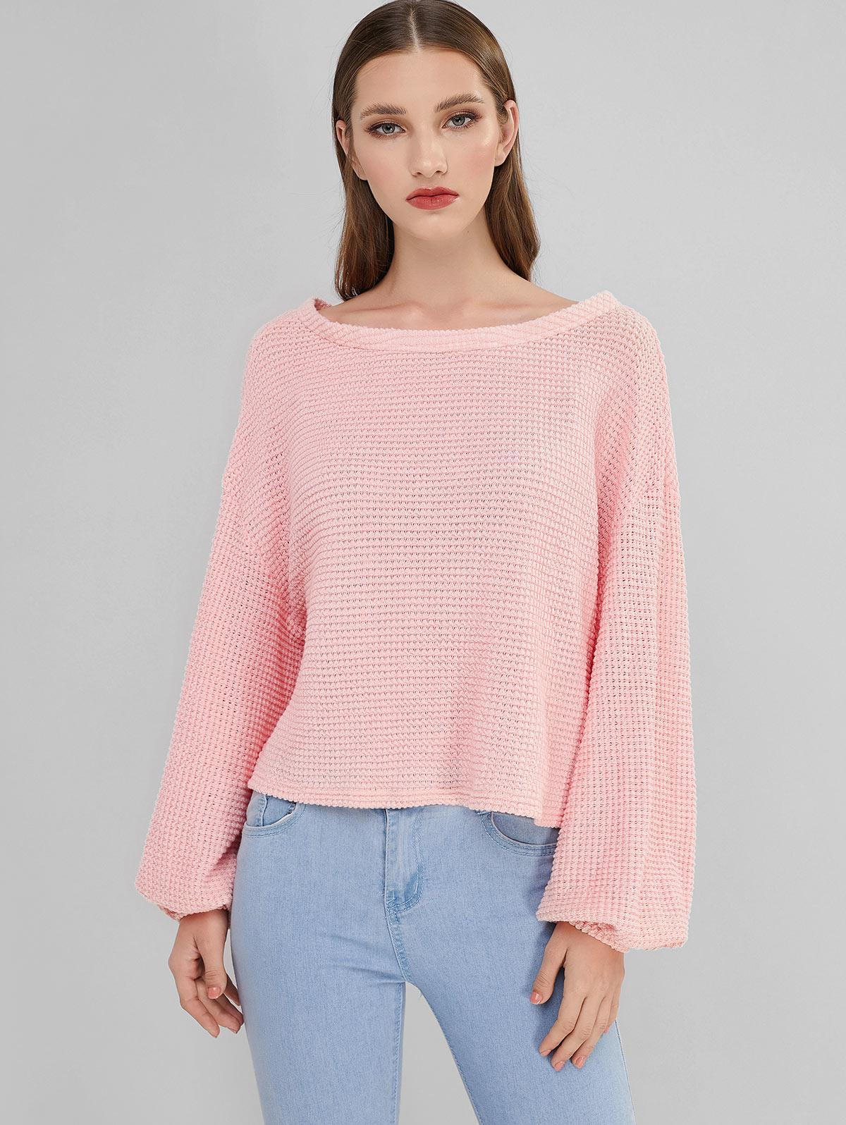ZAFUL Lantern Sleeve Boat Neck Sweater