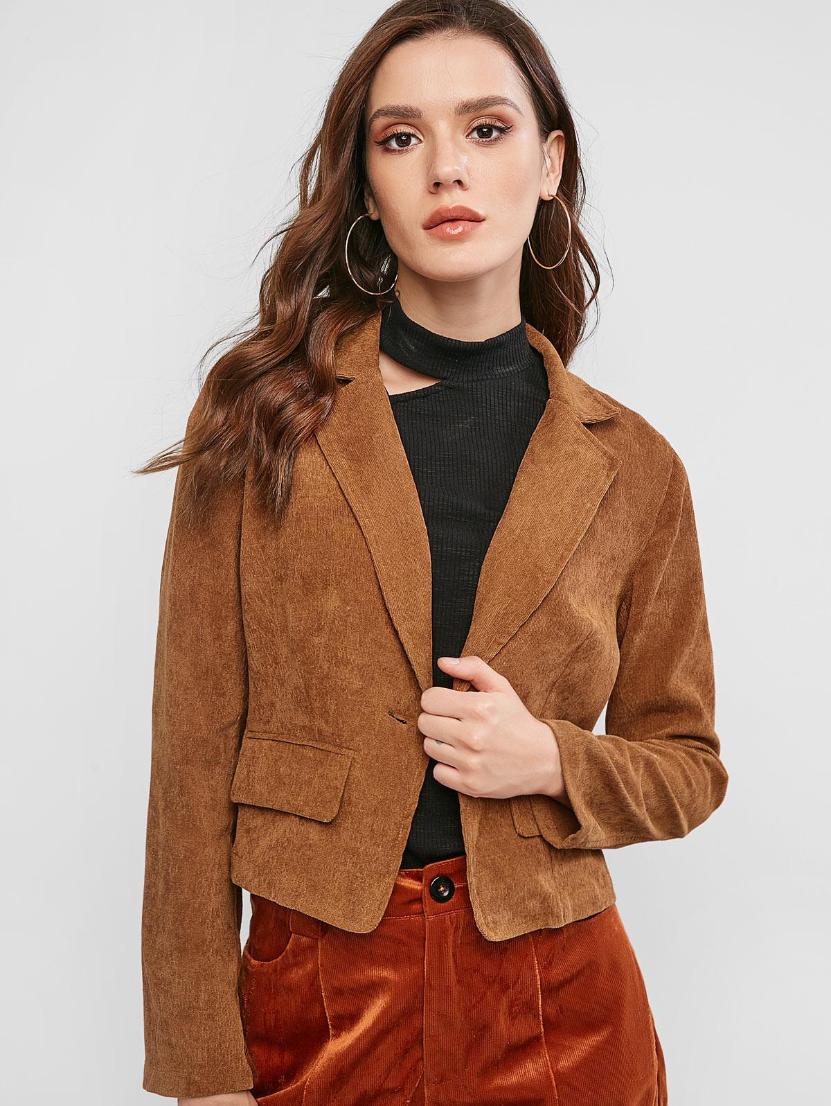 ZAFUL Corduroy One Button Lapel Blazer
