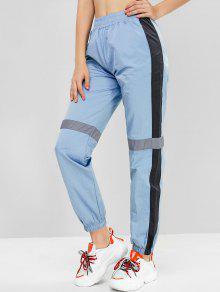 Colorblock عاكس تريم عداء ببطء سروال - ازرق رمادي M