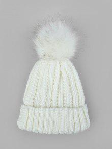 غامض الكرة كلاسيكي الشتاء محبوك قبعة - أبيض